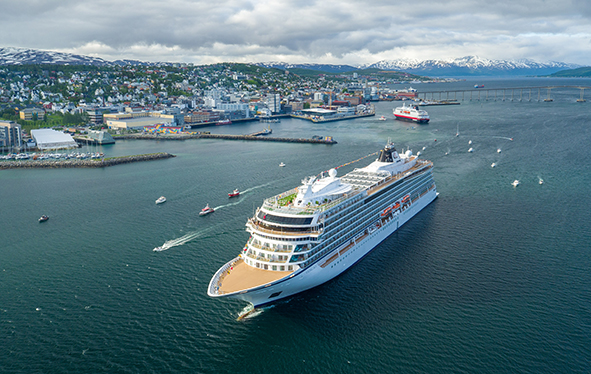 Aerial shot of Viking SKY in Tromso