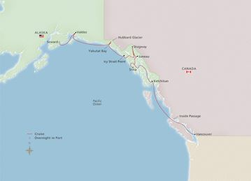 Map of Alaska & the Inside Passage itinerary