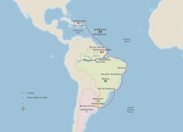 Map for Caribbean & South American Shores itinerary