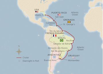 Map of From Miami to South America itinerary