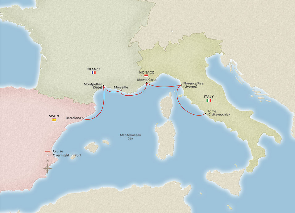 Iconic Western Mediterranean cruise route