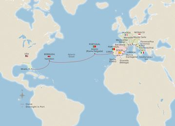 Map of Mediterranean Explorer & Crossing itinerary