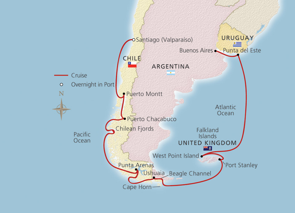 Map of South America & Cape Horn itinerary