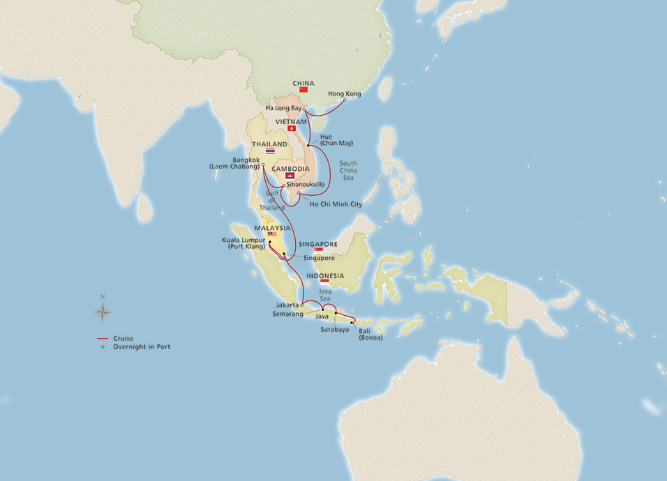 Map Of Asia Bali.Southeast Asia Hong Kong To Bali Cruise Overview