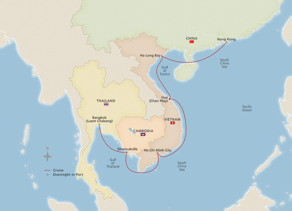 Map of the Southeast Asia & Hong Kong itinerary