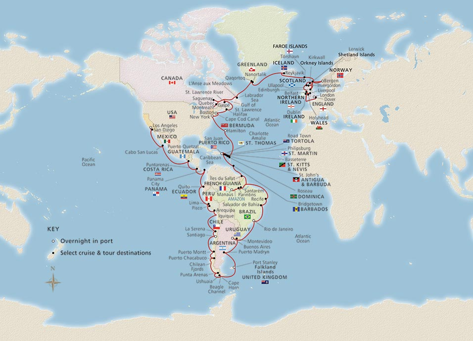 Map of Viking World Treasures itinerary