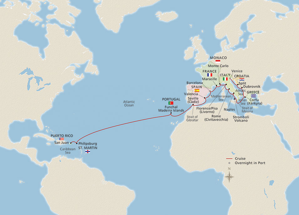 Map of Caribbean & Mediterranean Odyssey itinerary