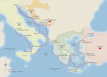 Map of the Adriatic & Mediterranean Sojourn itinerary