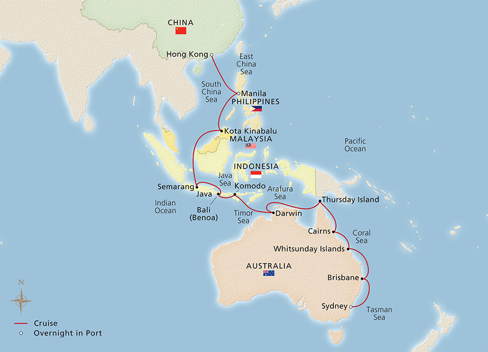 Map of the Australia & Asia's Scenic Shores itinerary