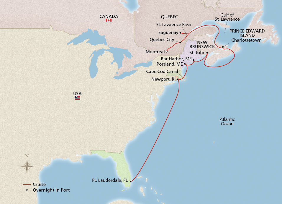 Map of the Canada & New England Scenic Shores itinerary