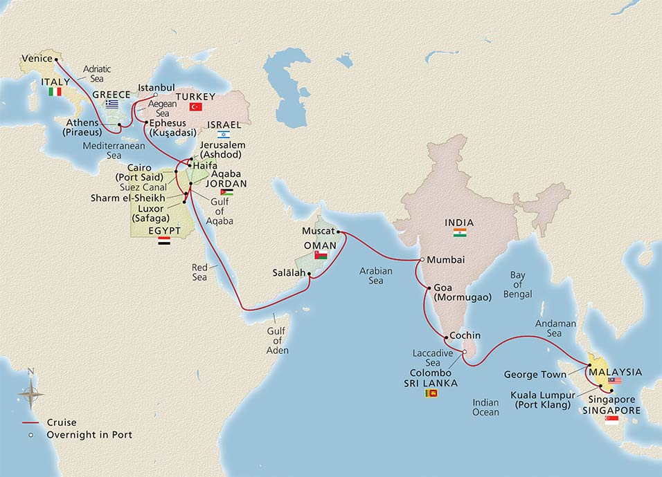Map of the Passage to Ancient Treasures itinerary
