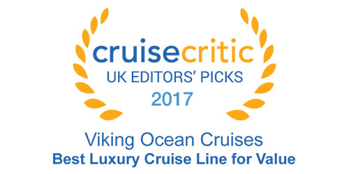 "Badge with text ""Cruise Critic - UK Editors' Picks - 2017 - Viking Ocean Cruises - Best Luxury Cruise Line for Value"""