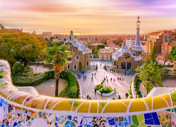 Guell Park at sunset in Barcelona, Spain