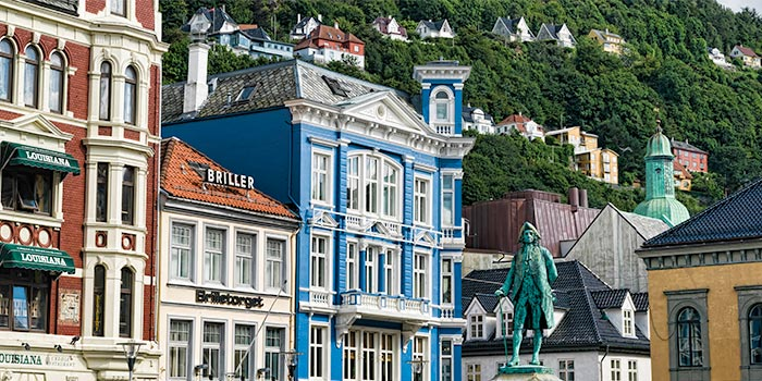 Ludvig Holberg statue in Bergen, Norway