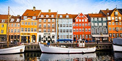 Houses along the water in Copenhagen, Denmark