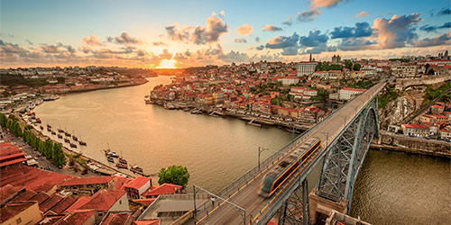 Aerial view of Porto, Portugal at sunset