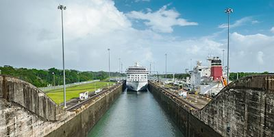 A Viking ocean ship sailing through the Panama Canal