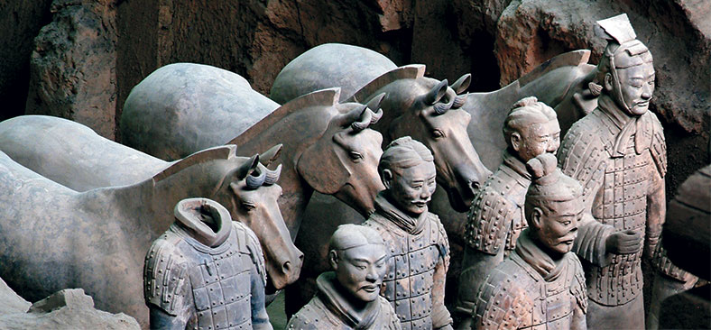 Terra Cotta wariors and horses excavation