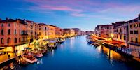 The grand canal at dusk in Venice, Italy