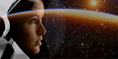 Collage of Dr. Anna Lee Fisher space images