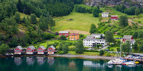 Aerial view of Flåm, Norway