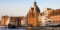 Old town style buildings against the water in Gdansk