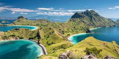 Panorama of Pulau Padar coastline, Komodo