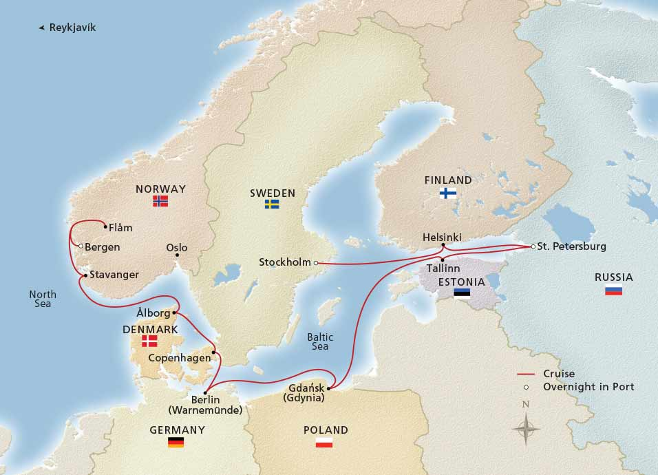 Viking Homelands Cruise Map