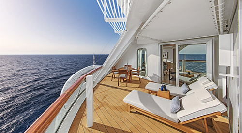 Veranda with deck chairs of the Explorer Suite stateroom