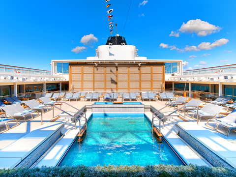 Main pool on board Viking Ocean vessel