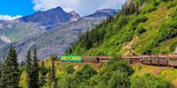 Skagway train by the mountain