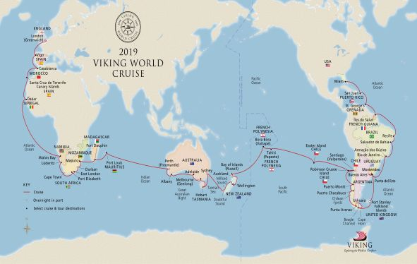 Map of the 2019 World Cruise itinerary