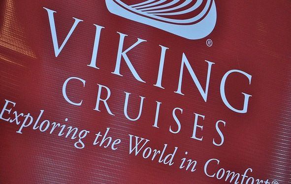 Viking Cruises logo on red vinyl background