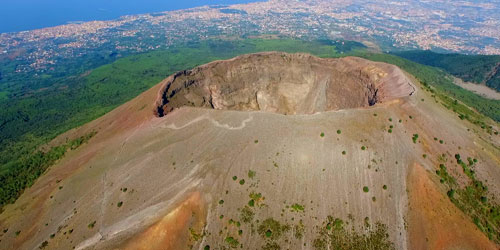 Aerial shot of the top of Vesuvius.