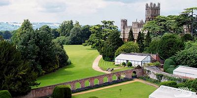 Aerial view of Highclere Castle