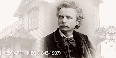 A photo of Edvard Grieg overlayed on the house that he lived in. His name and years of life are written in white at the bottom.