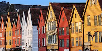 A closeup of red, white, and earth toned row houses in Bergen.