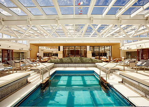 The pool on board a Viking Ocean vessel
