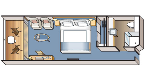 An illustrated schematic of the Viking Ocean Deluxe Veranda floor plan.